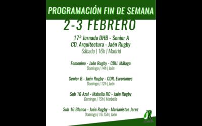 Programación del fin de semana 2-3 de Febrero