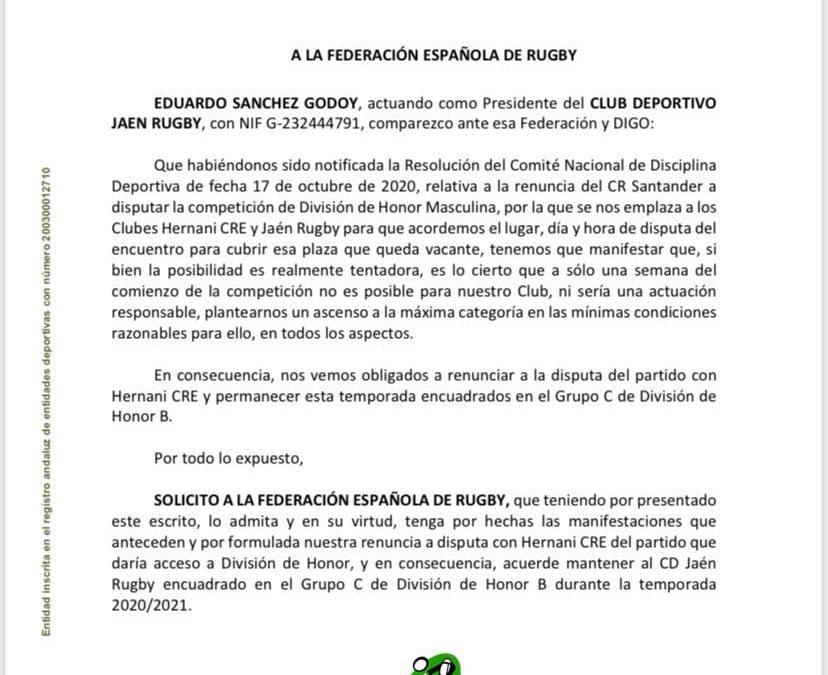 JAÉN RUGBY SOLICITA A LA FER MANTENER SU PLAZA EN DHB Y NO JUGARÁ POR EL ASCENSO CONTRA HERNANI C.R.E.